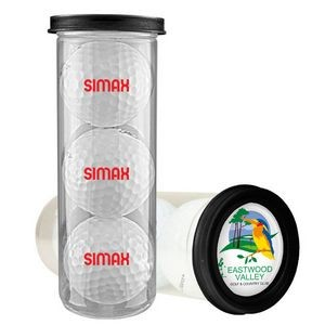 Three Ball Value Golf Gift Tube with Domed Imprint